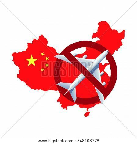 Wuhan Travel Ban Due To Coronavirus Cov Spread Around The World. Map Of China And Prohibiting Travel