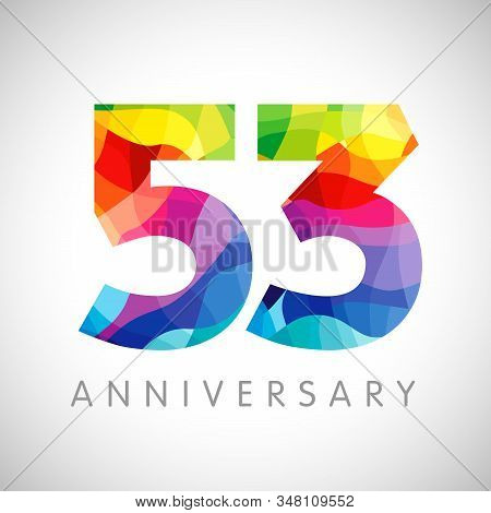 53 Rd Anniversary Numbers. 53 Years Old Logotype. Bright Congrats. Isolated Abstract Graphic Web Des