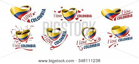 National Flag Of The Colombia In The Shape Of A Heart And The Inscription I Love Colombia. Vector Il