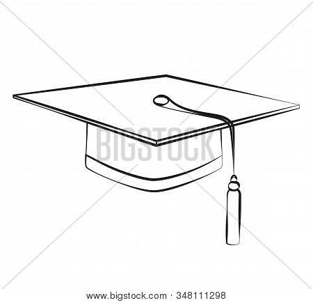Vector Black Lines Graduation Student Hats. Sketch Education Cap Logo