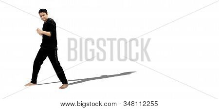 Full-length Shot Of Male Teenager In Sportswear And Giving Boxing Punching Pose Isolated On White. H
