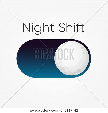 Modern Design For Blue Symbol Of Night Shift Switch Button With Moon Icon Isolated On White. Vector