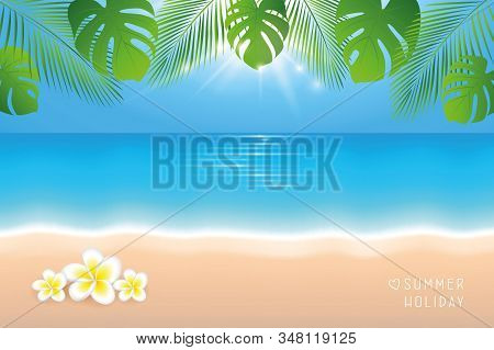 Sunny Day On The Beach Summer Holiday Background With Frangipani Tropical Flowers Vector Illustratio
