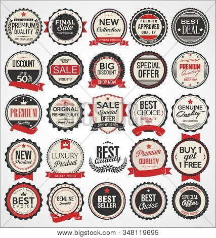 Retro Vintage Gold And Black Badges And Labels 01232.eps