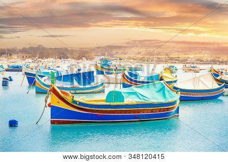 Mediterranean Traditional Fishing Boats Retro Colorful On Marsaxlokk Harbor Malta Summer