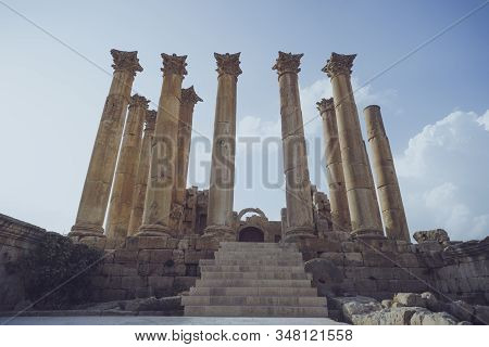 Temple In The Ancient Roman City Of Gerasa, Modern Jerash, Jordan. Old Columns Of Ancient Buildings