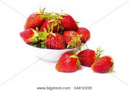 Fresh strawberries isolated on white