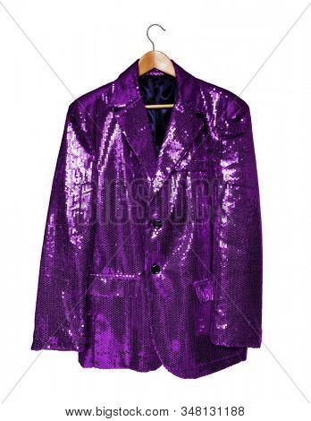 Purple sequin jacket on hanger