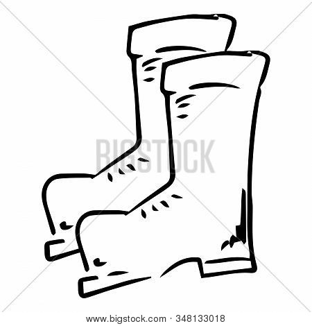 Garden Rubber Boots. Vector Of Rubber Boots. Spring Rubber Boots For Gardening.