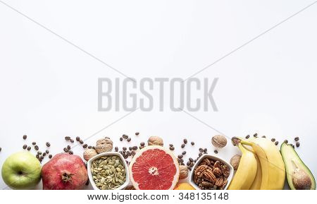 Wide Collage Of Fresh Helathy Fruits And Vegetables For Layout Isolated On White Background. Copy Sp
