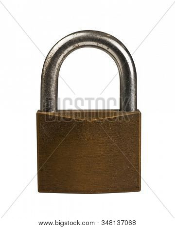 Steel padlock on white background
