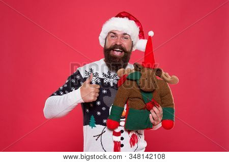 Thumbs Up And Ho-ho-ho. Happy Santa Give Thumbs Up. Bearded Man Smile With Thumbs Up Gesture. Gestur