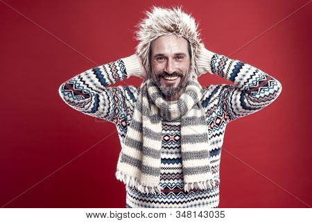 Hipster Fashion Winter Accessories. Mature Guy With Beard And Mustache Likes To Wear Unusual Things.