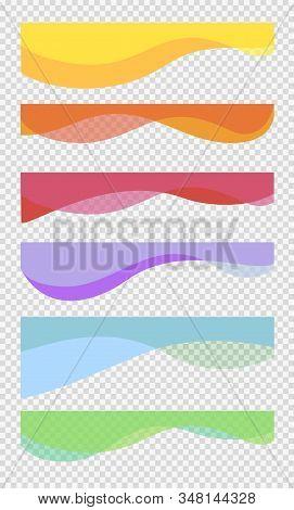 Set Wavy Design Element. Decor For Brochure, Banner, Flyer. Fluid, Color Wave, Curve Smooth Line. Ve