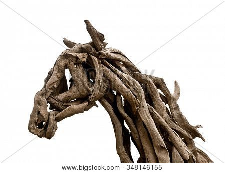 Horse head made from wood