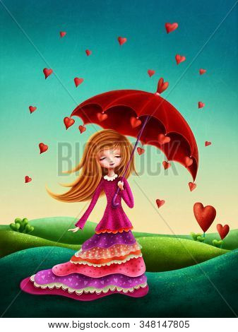 Illustration of a little girl with umbrella and hearts
