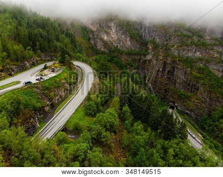 Aerial View. Old And New Road With Tunnel In Green Summer Mountains, Mabodalen Valley Norway. Nation