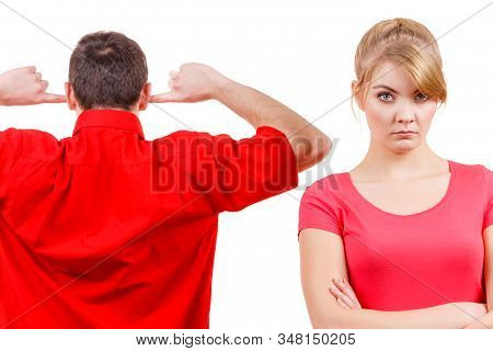 Couple Having Argument, Conflict Bad Relationships. Angry Offended Woman And Man Standing With Finge