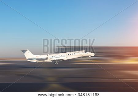 Mid Size Modern Vip Private Jet Departure And Take-off On Airport Runway. Pilot Asking Air Traffic C