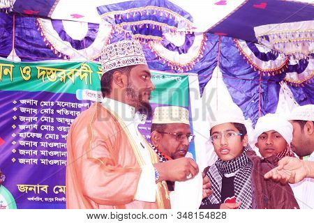 Rangpur,bangladesh.january 31, 2020. After Memorizing The Quran, The Scholars Are Give The Boys Turb