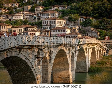 Berat, Albania On August 27, 2019: People Standing On Gorica Bridge In The Town Of A Thousand Window