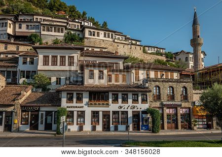 Berat, Albania On August 29, 2019: Town Of One Thousand Windows And White Ottoman Houses, Berat, Alb