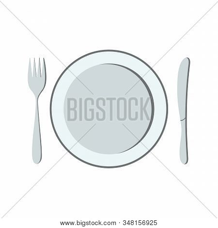 Plate, Fork, And Knife. Isolated Cutlery On A White Background. Dinnerware. Vector Illustration For