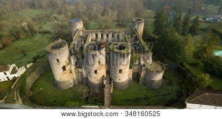 France, Gironde, Villandraut, Vestiges Of The Fortified Castle Of Villandraut, Aerial View