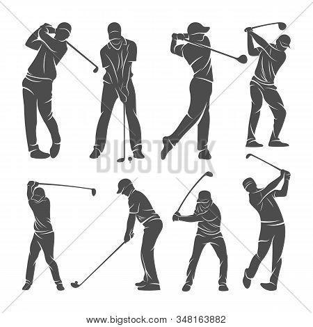 Set Of Golf Player Logo Design Vector Template, Vector Label Of Golf, Logo Of Golf Championship, Ill
