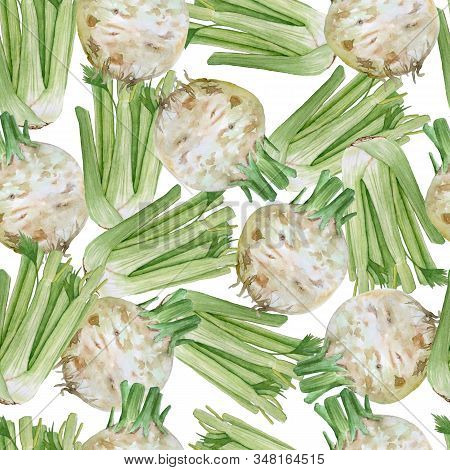 Watercolor Hand Drawn Seamless Pattern Of Tasty Vegetable Green Celery. Apium Pascal Stems Leaves Ce