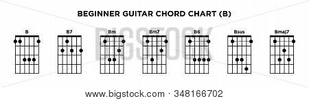 Basic Guitar Chord Chart Icon Vector Template. B Key Guitar Chord.