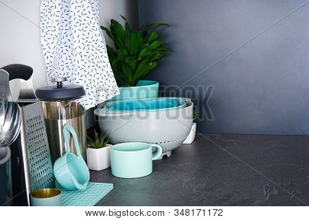 Kitchen Utensils On The Background Of The Kitchen, Place For Text.  Modern Kitchen, Background With