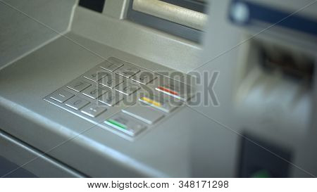 Close-up Of Automated Teller Machine, Buttons On Atm, Secure Money Withdrawing