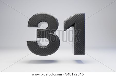 Black Carbon Fiber Number 31 Isolated On White. 3d Rendered Black Glossy Carbon Font For Poster, Ban