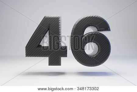 Black Carbon Fiber Number 46 Isolated On White. 3d Rendered Black Glossy Carbon Font For Poster, Ban