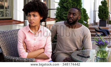 Unhappy Girlfriend Ignoring Boyfriend, Turned Away, Misunderstanding, Conflict