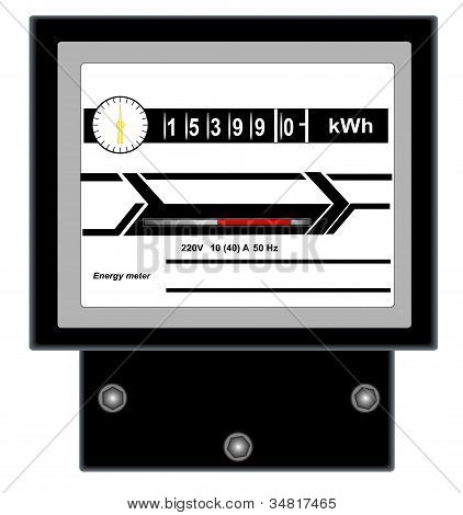 Illustration of energy meter on a white background poster