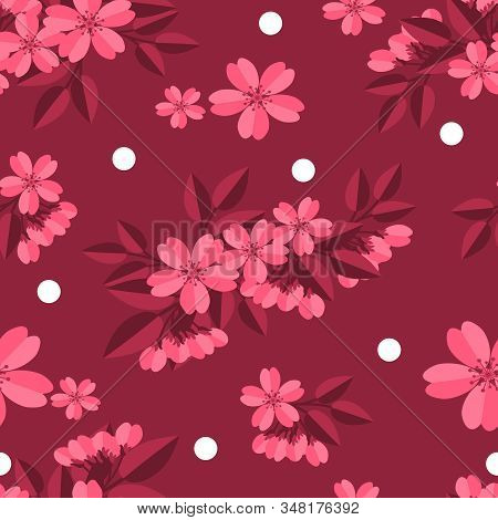Floral Seamless Pattern Of Pink Cherry Blossom With White Circle On Pink Background. Vector Illustra