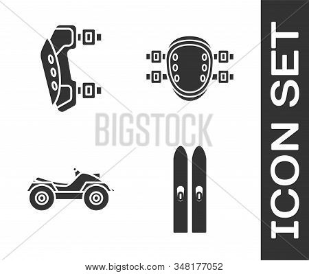 Set Ski And Sticks, Knee Pads, All Terrain Vehicle Or Atv Motorcycle And Knee Pads Icon. Vector