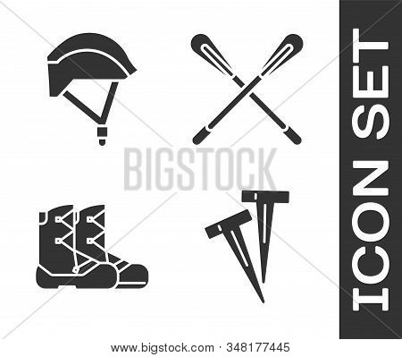 Set Pegs For Tents, Bicycle Helmet, Boots And Crossed Paddle Icon. Vector