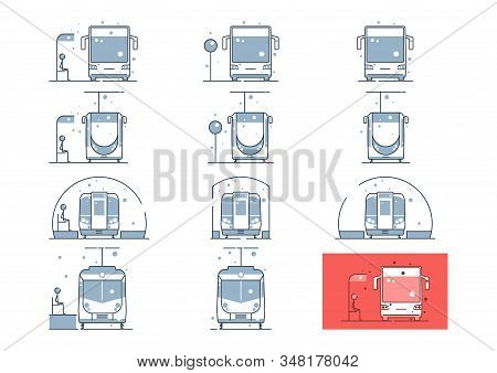 Public Transport Icons. Front View Line Icons Set With Bus, Tram, Underground And Train With And Wit