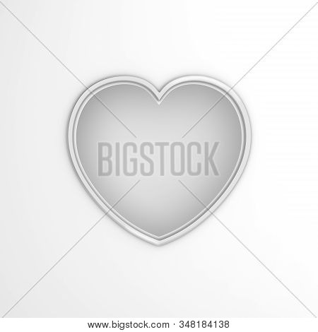 Happy Valentines Day, Valentines Day Background, White Silver Window Frame Heart Shape Paper Cut Bac