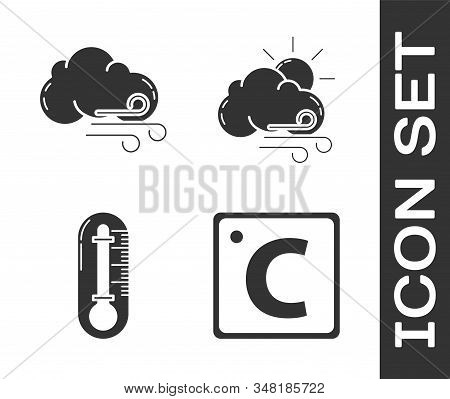 Set Celsius, Windy Weather, Thermometer And Windy Weather Icon. Vector
