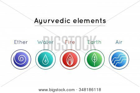Vector Illustration With Set Of Isolated Ayurveda Symbols: Water, Fire, Air, Earth, Ether In Gradien