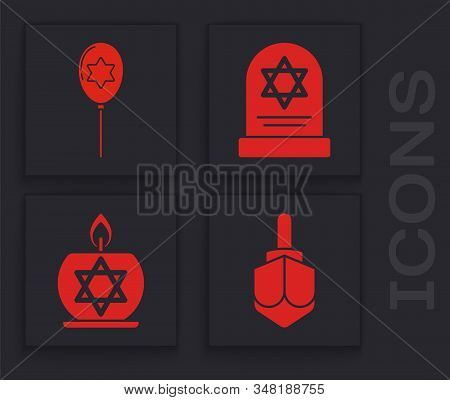 Set Hanukkah Dreidel, Balloons With Ribbon With Star Of David, Tombstone With Star Of David And Burn