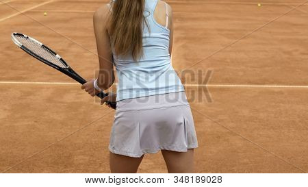 Woman Tennis Athlete Preparing To Take Opponent Serve, Sports Hobby, Close Up