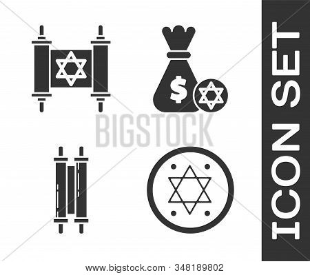 Set Jewish Coin, Torah Scroll, Torah Scroll And Jewish Money Bag With Star Of David And Coin Icon. V