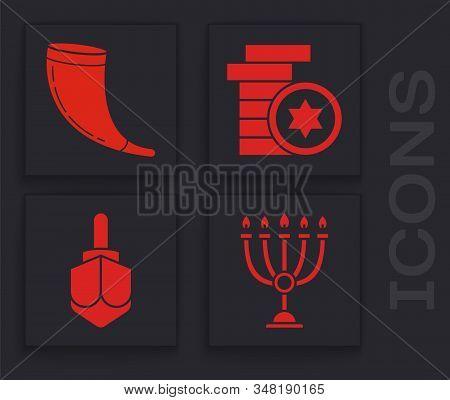 Set Hanukkah Menorah, Traditional Ram Horn, Shofar, Jewish Coin And Hanukkah Dreidel Icon. Vector