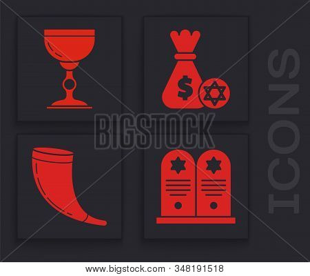 Set Tombstone With Star Of David, Jewish Goblet, Jewish Money Bag With Star Of David And Coin And Tr