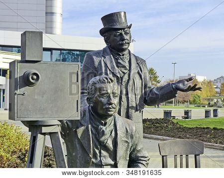 Yekaterinburg, Russia-10/20/2019: Monument To Brothers Lumiere. Next To The Figures Of The Brothers,